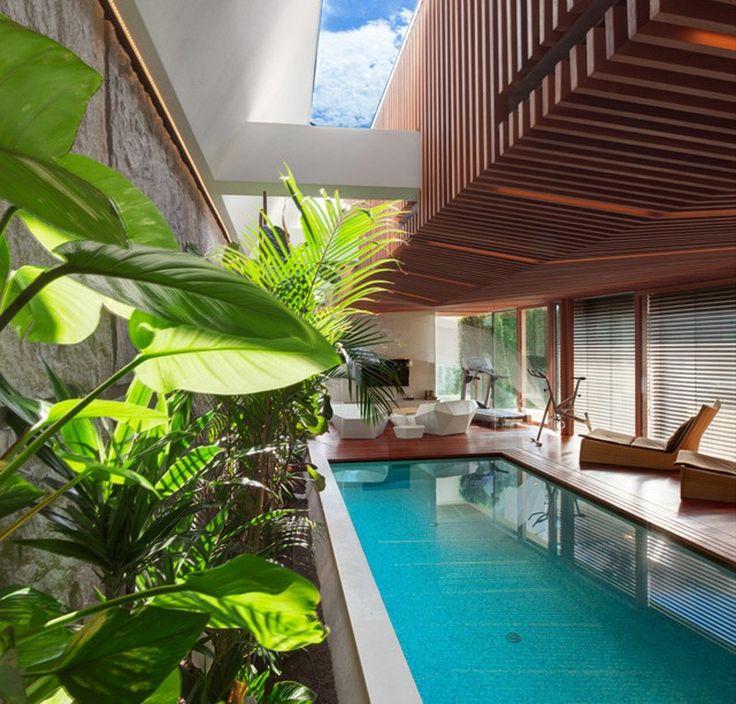 Swimming Pool-Deck und hervorragende grün Home Spa Verlängerung Entspannung und Verjüngung Attraktor durch architekti.sk