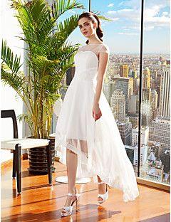 A-line Bateau Asymmetrical Chiffon Wedding Dress (2226237) – CAD $ 180.69