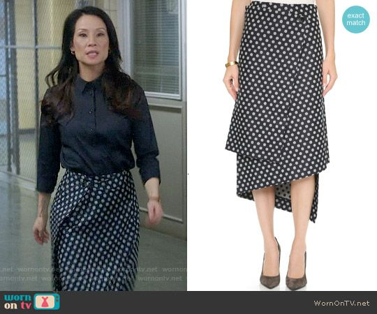 Joan's polka dot wrap skirt on Elementary.  Outfit Details: https://wornontv.net/56111/ #Elementary