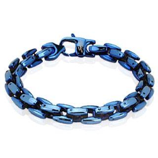 Flott blått armbånd i rustfritt stål. Materiale: Rustfritt stål. Lengde: 22,5 cm. Bredde: 8,9 mm. #armbånd #mann #herresmykke #stål