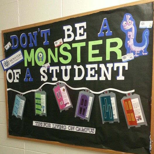 RA college bulletin board. Covers responsibility.  Inside door flaps has different responsibility facts about living on campus. Safety, getting involved, creating goals, ect.