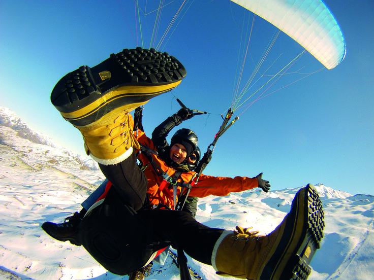 Winter Paragliding from the top of Coronet Peak Ski Area