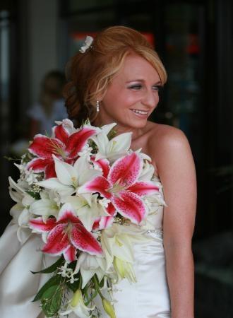 cascading bouquet, stargazer lilies, asiatic lilies, stephanotis.
