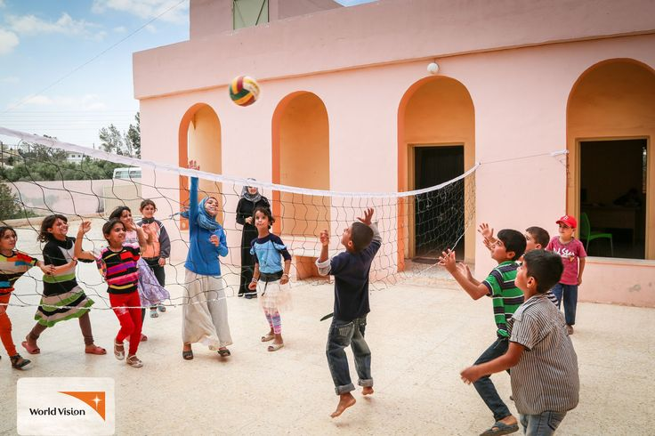 These children are #Syrian #refugees, forced to flee their homes to escape the #violence in their country. Amongst the chaos of life as a refugee, World Vision's Child Friendly Space is a safe place for them to #play, #learn and enjoy themselves with a good game of #volleyball! Photo by Elias Abu Ata, #WorldVision