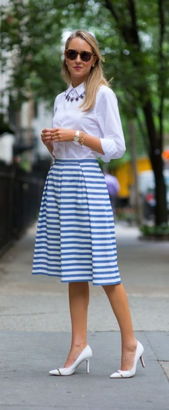 blue and white striped midi skirt, white pointed toe pumps + oxford shirt