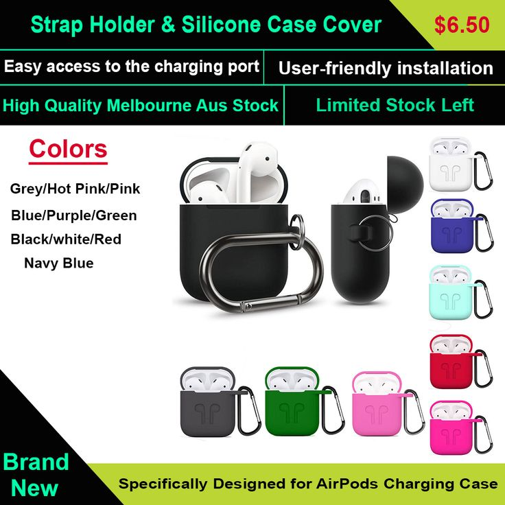 Strap Holder & Silicone Case Cover Skin For Apple Airpod Accessories Airpods  protect your AirPods against bumps, drops and shock without adding bulk to your charging case, provides full protection for your AirPods Charging Case