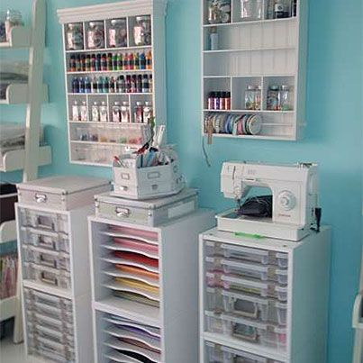 #papercraft #craftroom #organization. Papers, Sewing Machine, Paints. Using white cubes.
