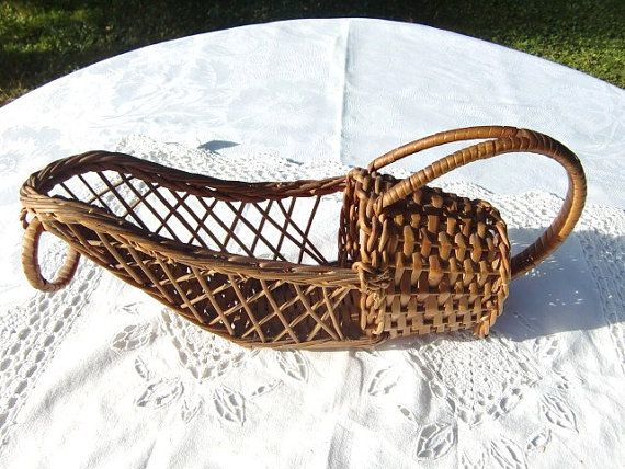 Vintage French  Wine Bottle Basket Holder, Wine Bottle wicker Basket, Wine bottle carrier / holder