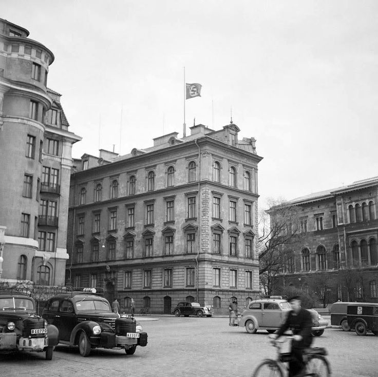 The German embassy in Sweden flying the flag at half mast on April 30, 1945, the day Hitler committed suicide.  The death wasn't announced in Berlin until May 1st, but apparently the embassy received the news earlier and somebody decided it was time to mourn the Furher officially.
