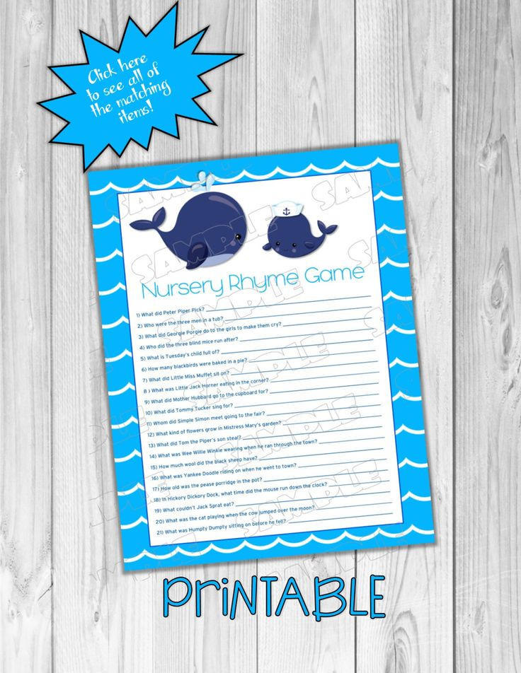 Whale Baby shower games nursery rhyme game Printable whale games INSTANT DOWNLOAD  UPrint  by greenmelonstudios nautical whale baby shower by greenmelonstudios on Etsy