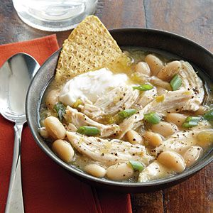 Southwestern Chicken Soup Recipe ~ FAST dinner -can use rotisserie chicken ~ 381 calories per serving ~ TRY: add fresh lime juice, extra can of beans & avocado for garnish:  Ingredients: 12-16 oz jar salsa verde, 3 cups cooked chicken, can cannellini beans, 3 c chicken broth, cumin, green onions, sour cream, tortilla chips..DONE ~ real simple recipe
