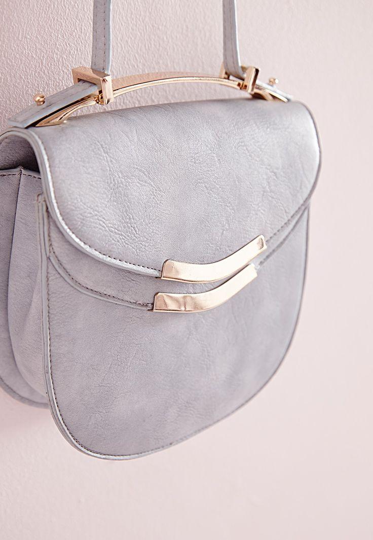 Missguided - Metal Top Saddle Bag Blue