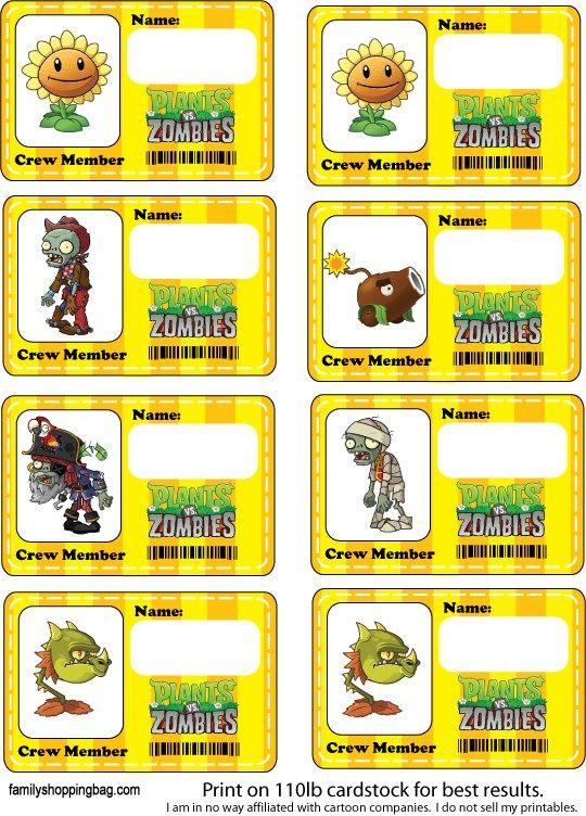 Etiquetas tarjetas de Plantas Vs Zoombies