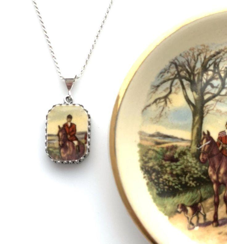 Broken china jewelry anniversary gift for wife horse