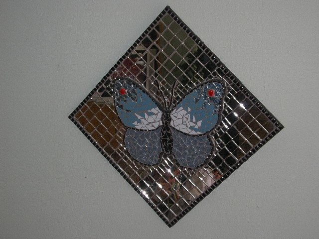 Up, Up & Away - Mosaic mirror with raised 3D butterfly