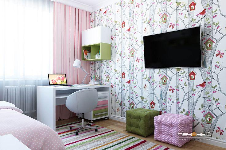 Дизайн детской в панельном доме П-44. Дизайн интерьера детской комнаты для девочки. Современный стиль. Цвета: зелёный, розовый, белый, серый.
