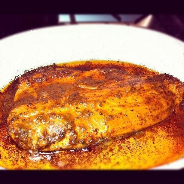 Marinated & baked trout fillet