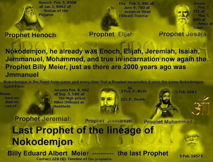 Contact 229 (Q): Timeline of the prophets: Name: born on: died on: son of: Henoch Feb. 3, 9308 aE Jan. 1, 8942 aE Kretan of the Plejaren Jeremia Feb. 9, 662 aE Sep. 3, 580 aE the High-priest Hilkis (Hilkias) at Anathoth Jesaia Feb. 7, 772 aE May 5, 690 aE Amoz at Sidon Elia Feb. 5, 891 aE June 4, 780 aE Josias at Gilad (Gilead) Tisbitia