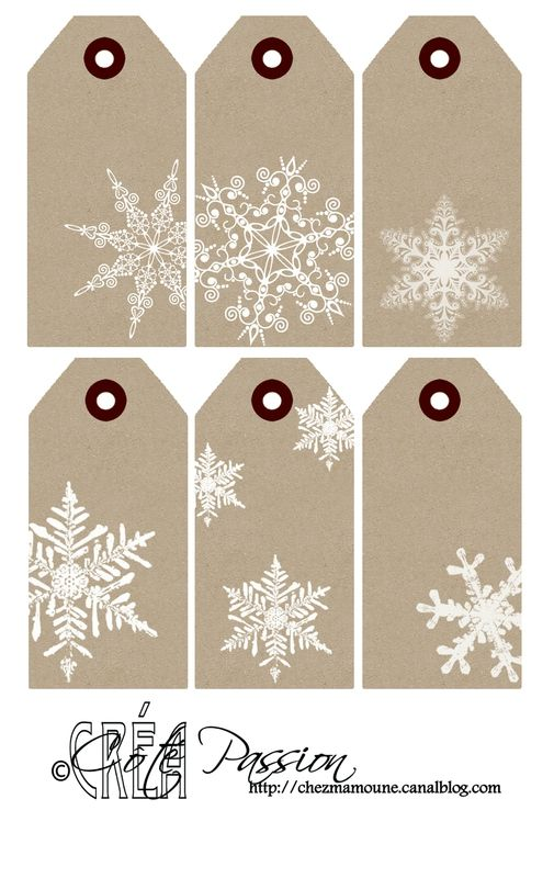 Cote Passion 6 Christmas labels ... kraft with white snowflakes ...