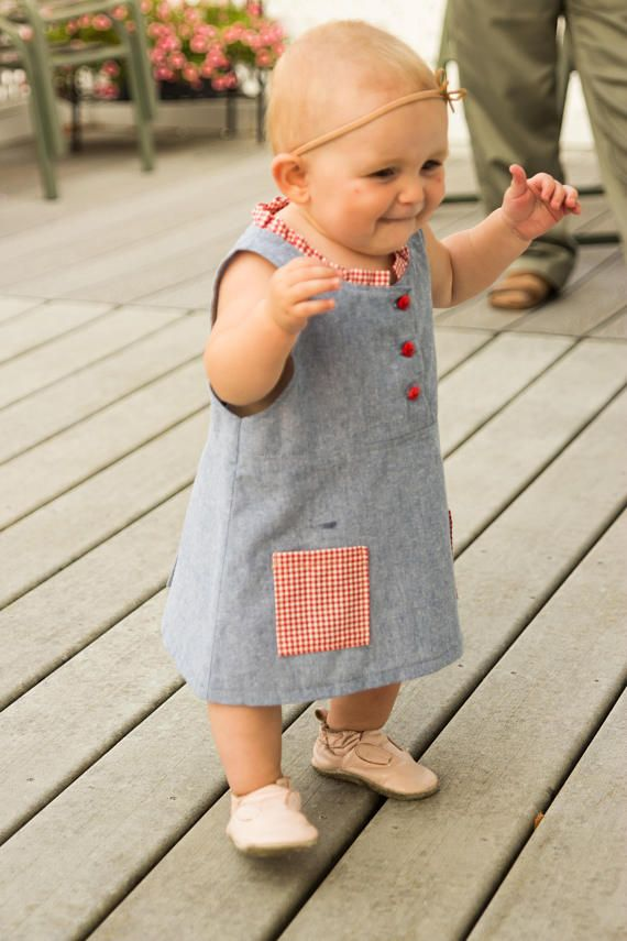 Cotton Dress Size 1 Yr Hand Sewn Red Gingham Pockets