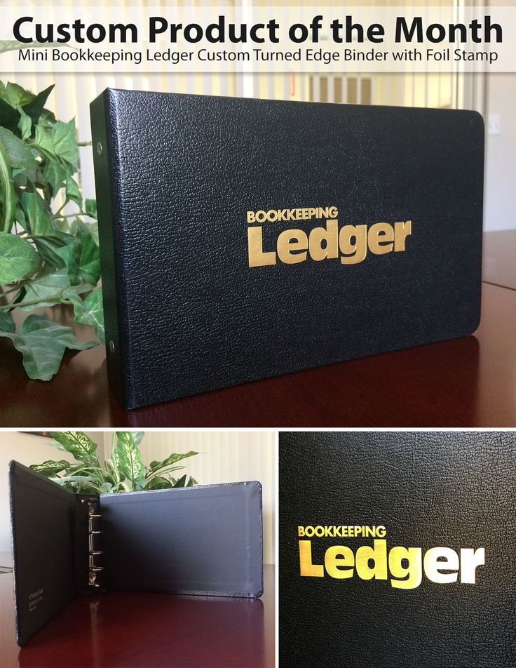 Custom Turned Edge Binder + Bookkeeping Ledger with foil stamp and 4-ring spine