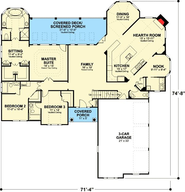 Plan 2067ga Classic Brick Ranch Home Plan Ranch House Plans House Plans Colonial House Plans
