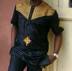 Broderie or Naka roi africain chemise chemise par BournLoondonLtd