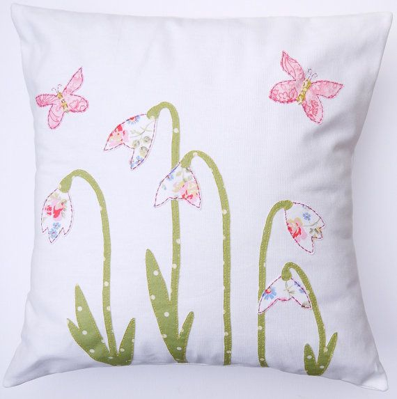SNOWDROP and BUTTERFLY applique cushion / by SARAHANNSACCESSORIES, £39.50