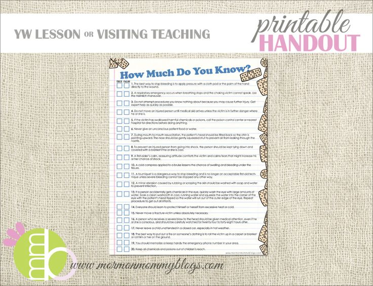 * First Aid Quiz Printable Handout   Mormon Mommy Printables
