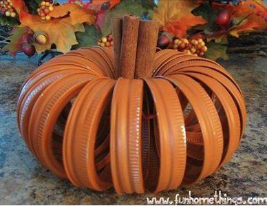 Easy craft, prepare for fall.  Mason jar lids, orange paint and cinnamon sticks.