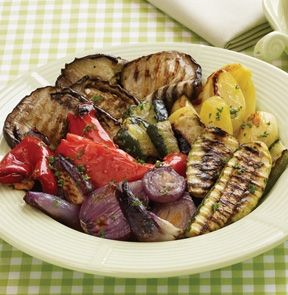 GRILLED VEGETABLES. Elegant grilled vegetables are here! Broad red pepper quarters, crinkle-cut eggplant strips, long zucchini slices, chopped red onion and wedge-cut potatoes are professionally grilled to show dark char lines typical of classic grilled vegetables. #mmmeatshops