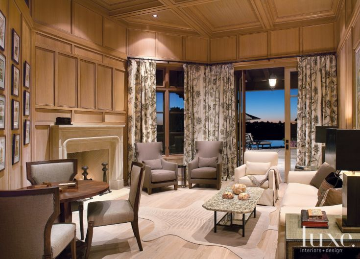 Transitional Brown Family Room with Decorative Millwork