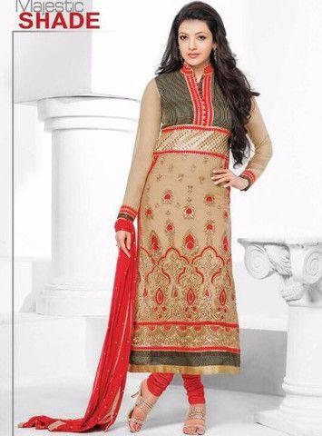 MF 46016 - Beige Color Georgette Long Designer Suit