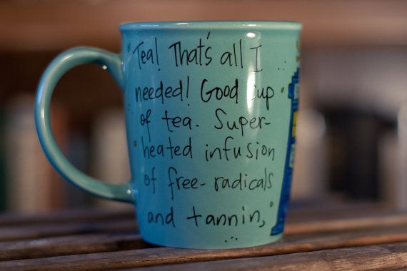Doctor Who Good cup of tea Tenth Doctor hand painted quote mug with TARDIS - Large turquoise mug