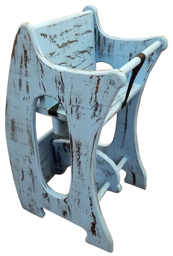 Blue Finish High chair desk rocking horse 3-in-1 amish design handmade children furniture solid wood