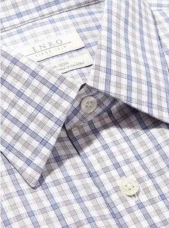 Big&Tall-Dobby Gingham Multi Check Dress Shirt With Standard Point Collar