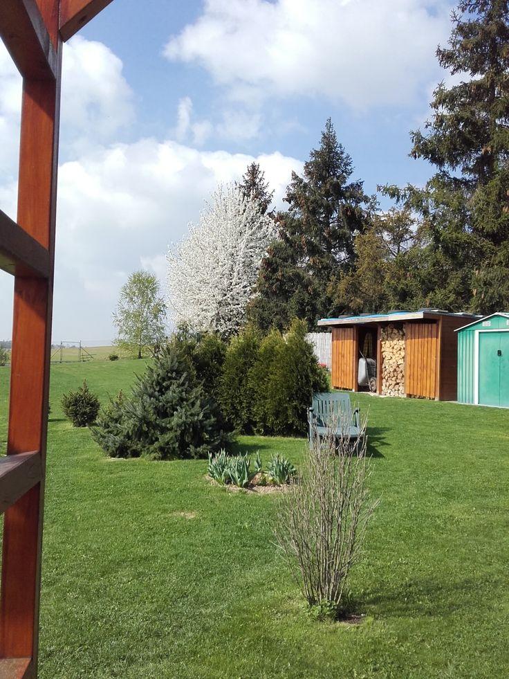 Naše zahrada - pohled od terasy - polovina dubna 2018.