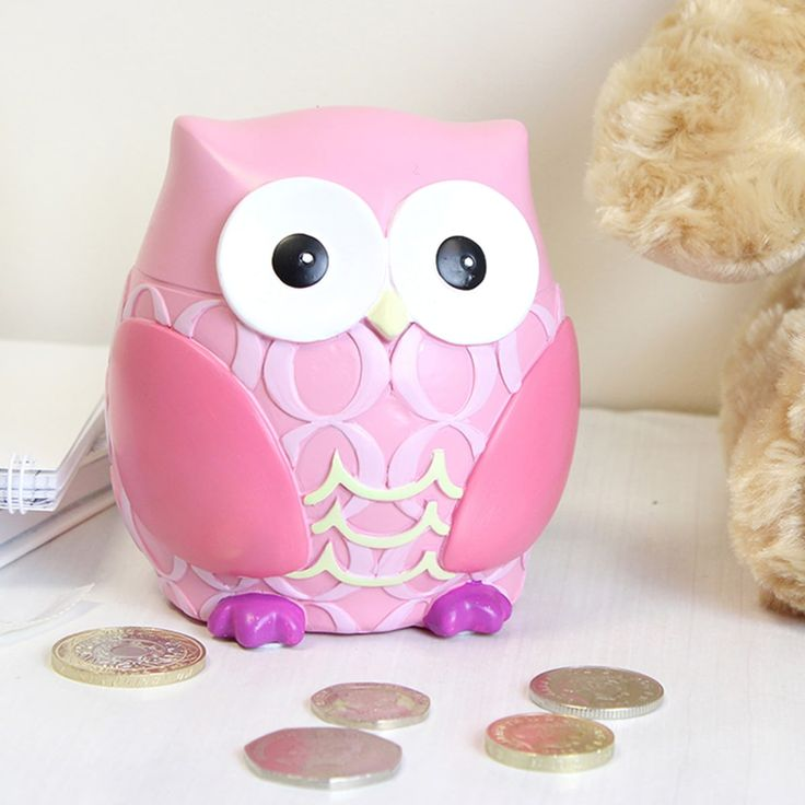 Woods gifts pink owl money box