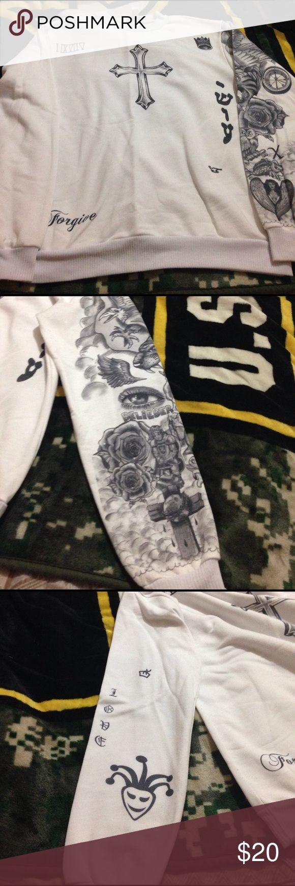 Justin Bieber Tattoo Long sleeve top Worn. Has numbs. Price reflects. Originally around $50 online freshtops Tops Tees - Long Sleeve