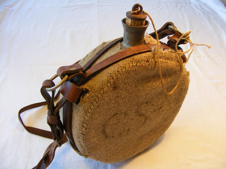 Vintage Pewter Drum Water Canteen Bottle w Wool Cover & Leather Strap CSA uk.picclick.com
