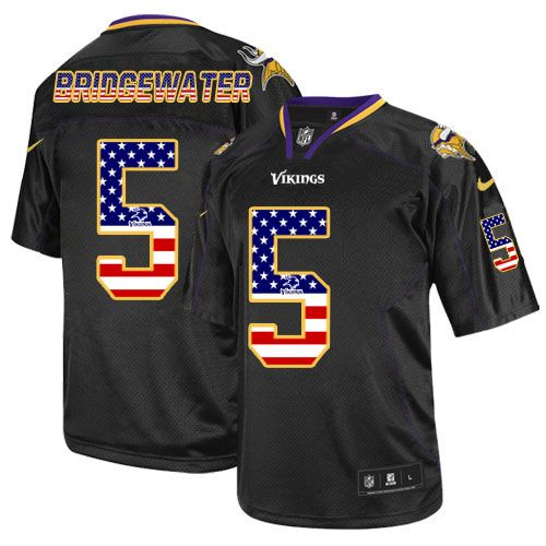 $24.99 Nike Elite Teddy Bridgewater Black Men's Jersey - Minnesota Vikings #5 NFL USA Flag Fashion