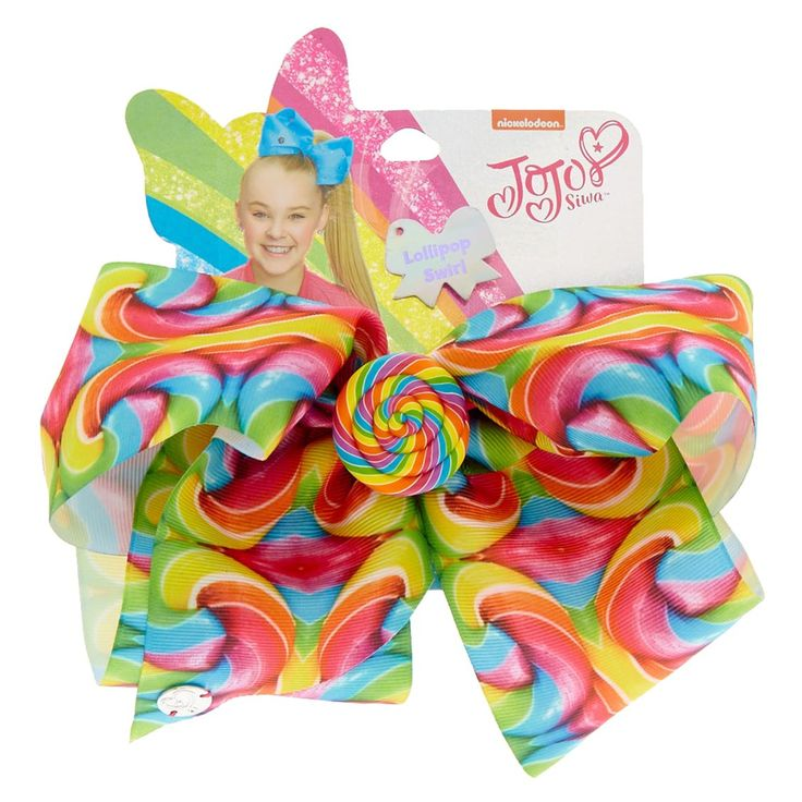 JoJo Siwa Large Rainbow Lollipop Swirl Hair Bow | This rainbow hair bow by JoJo Siwa is covered in the sweetest, most delicious lollipop swirl design. The center of the bow features and inch wide lollipop button.