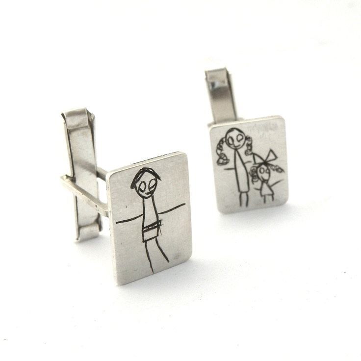 Your Child's Drawing on a Cuff Links Personalized Made by mujoyasLink Personalized, Gift Ideas, Child Drawing, Cufflinks, Sterling Silver, Children, Personalized Gift, Cuffs Link, Cuff Links