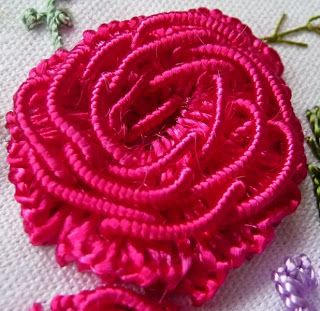 RosalieWakefield-Millefiori: My American Beauty Rose in Brazilian Dimensional Embroidery