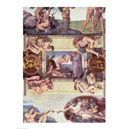Sistine Chapel Ceiling (1508-12) The Creation of Eve 1510 Canvas Art - Michelangelo Buonarroti (24 x 36)
