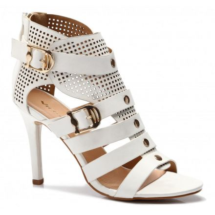 Transparent White High Heels With Gold Buckle