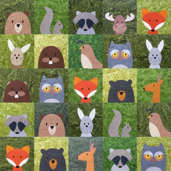 Woodland Critters quilt with added free moose block pattern - fox, raccoon