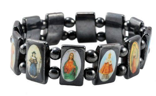 Jesus, Ann Rita, and Mary Men's / Women's Catholic Saint Icons Hematite Bracelet, Hematite Rosary Hematite Bracelet. $5.99. Size: One Size Fits All. Elastic Cord; Gun Metal Polished Black. 100% Handmade. Width: 17mm. Made from Genuine Magnetic Hematite Beads