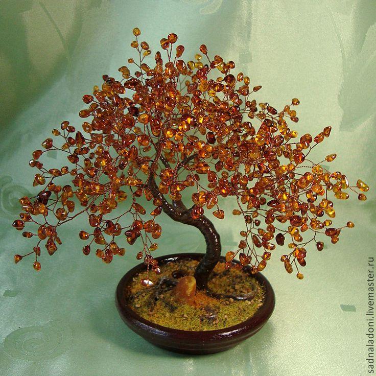 """Купить Дерево из натурального янтаря """"ИРМА"""" - рыжий, натуральный янтарь, бонсай, Дерево счастья, коньячный"""