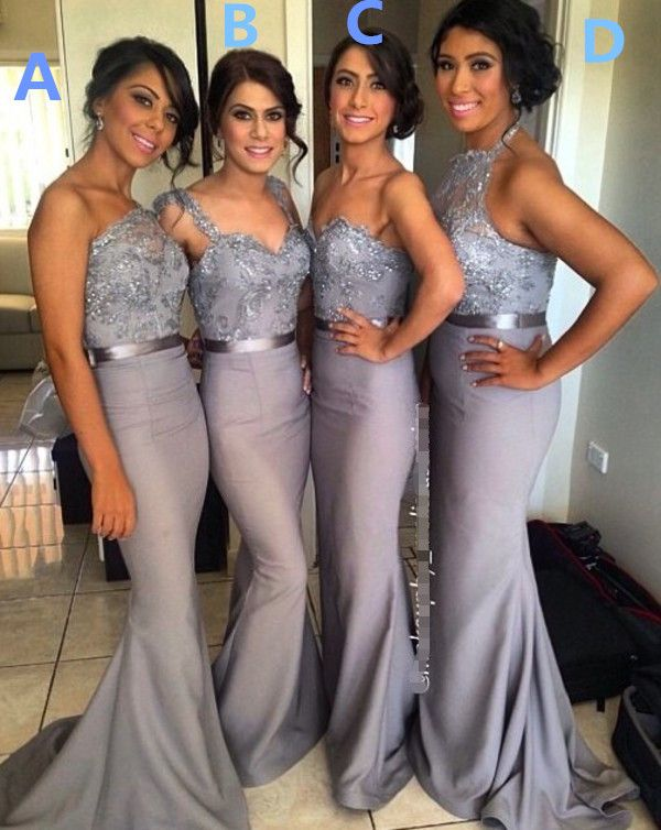 Grey Long Halter Bridesmaid Dress Wedding Party Dress